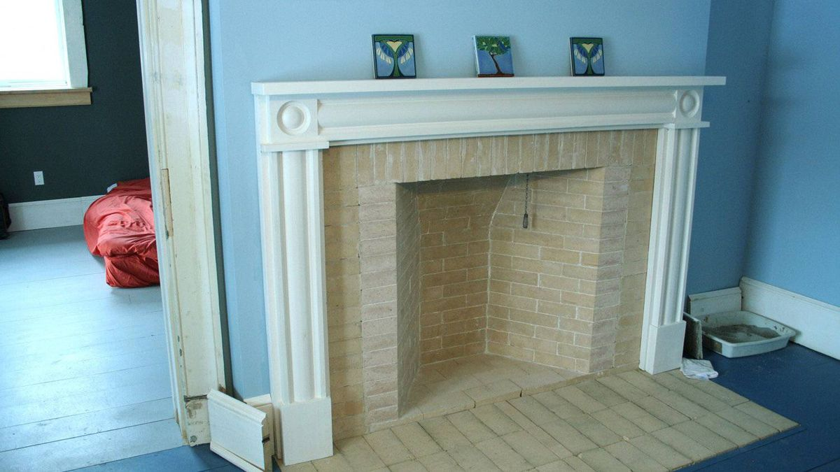 Rumford fireplace in the master bathroom.