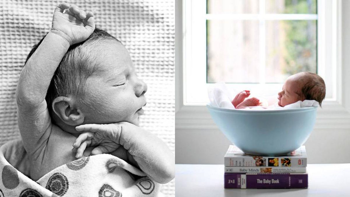 A sleepy newborn, shot in a naturalistic style, reflects a new, low-key approach to baby pictures; a recent trend toward fantastic props, is falling out of favour.