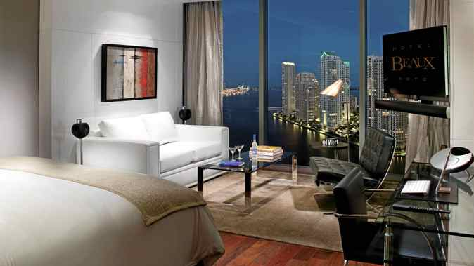 The view from the sky-high Hotel Beaux Arts in Miami.