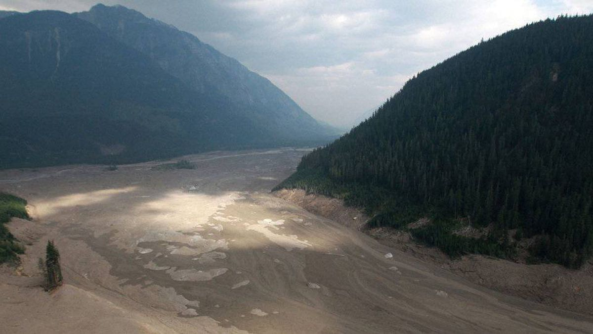 Mud and debris fills a valley after a landslide occurred near Meager Creek Hot Springs north of Pemberton, B.C., on August 6, 2010.