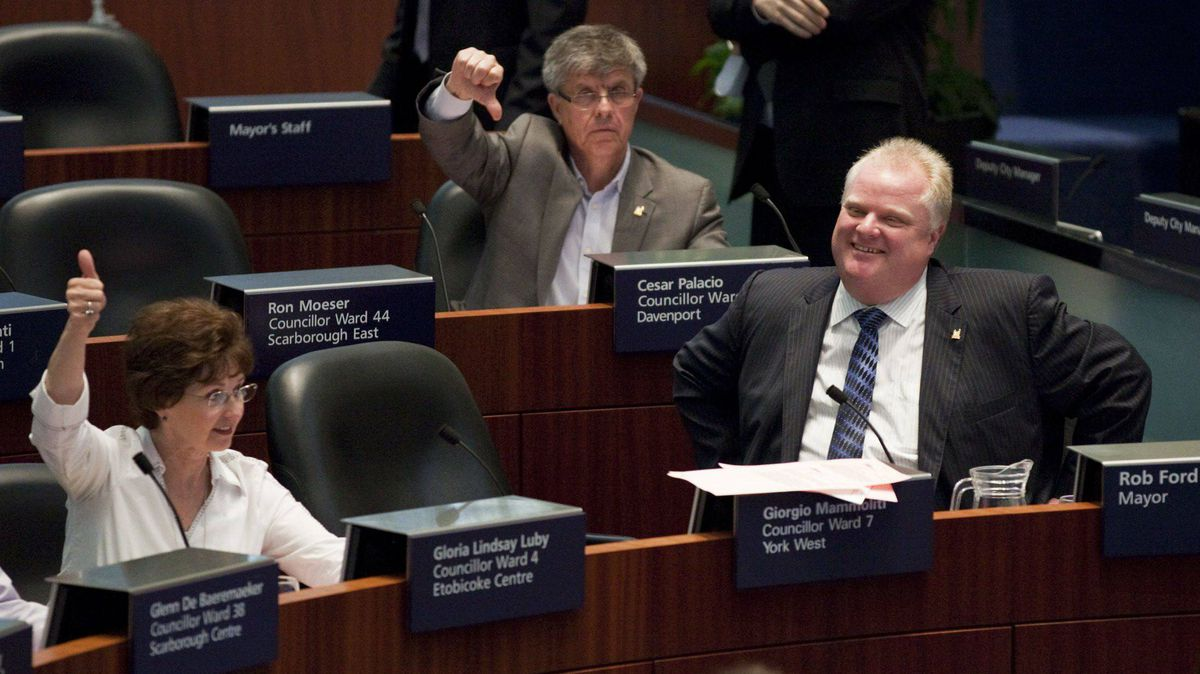 Toronto mayor Rob Ford (right) with Councillor Gloria Lindsay Luby who joined the majority who voted in favour for the hotly contested light rail transit on Sheppard Avenue East at Toronto City Hall on March 22, 2012.