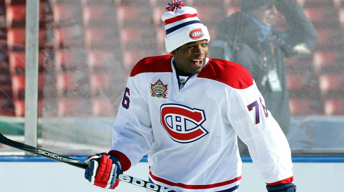 P.K. Subban of the Montreal Canadiens skates during a practice session the day before the 2011 NHL Heritage Classic at McMahon Stadium on Saturday in Calgary.
