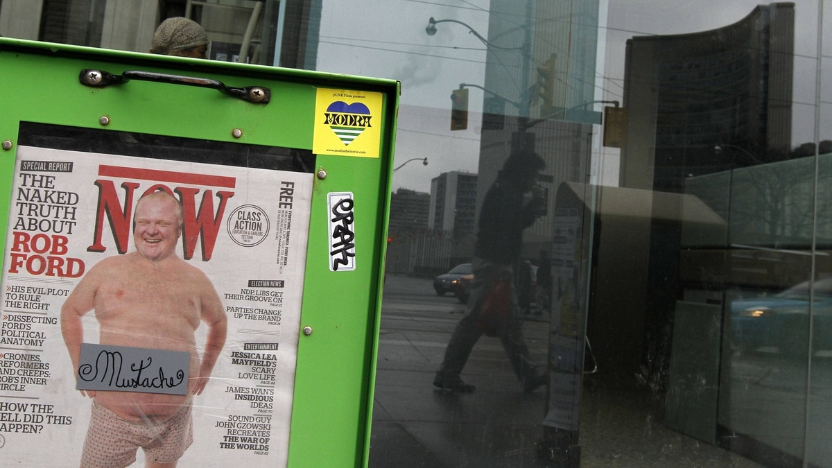 A copy of Now magazine featuring an altered picture of Toronto Mayor Rob Ford in underwear can be seen across City Hall on Queen St., Toronto March 31, 2011.