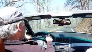 Columnist Peter Cheney's friend Matt Taber driving his BMW M3 on the Lookout Mountain Scenic Highway near Rising Fawn, Georgia.