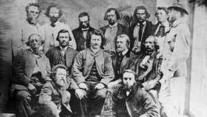 Metis leader Louis Riel with his councillors, circa 1869.