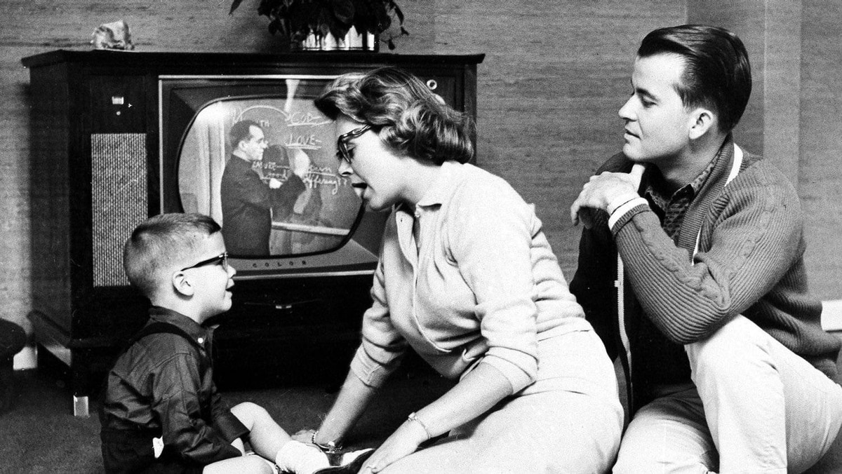 This July 26, 1960 file photo shows Dick Clark and Barbara Mallery with their son, Richard, 3, in their home near Philadelphia.