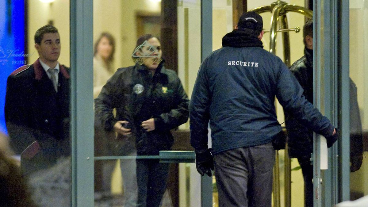 Security personnel guard the entrance to the Chateau Vaudreuil Hotel in Vaudreuil, west of Montreal,on Jan. 27, 2011, where Belhassen Trabelsi is believed to be staying.