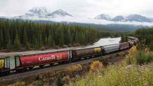 Rail cars loaded with canadian wheat travel through the Rocky Mountains on the Canadian Pacific railway line near Banff, Alberta, October 6, 2011.