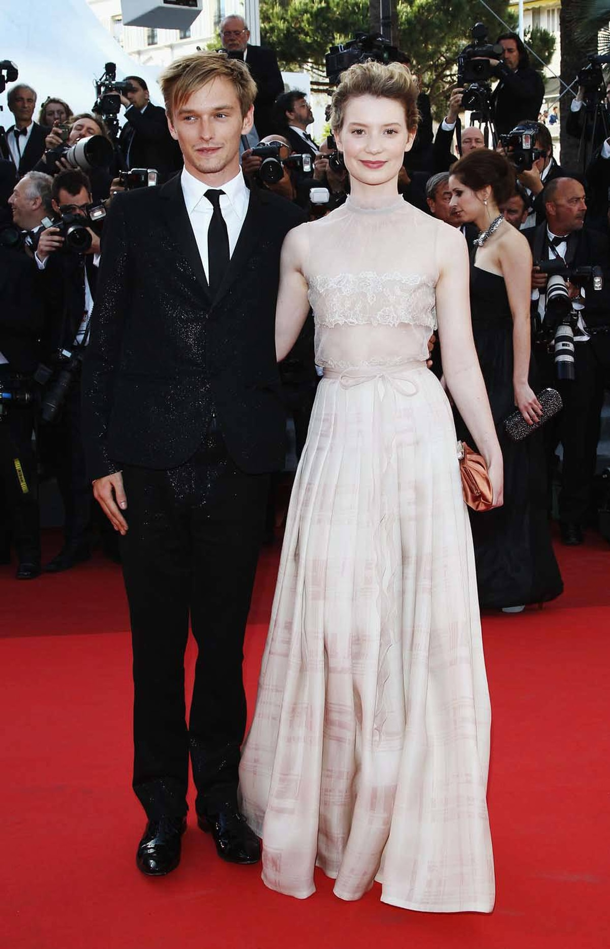 """Actors Henry Hopper and Mia Wasikowska attend """"The Tree Of Life"""" premiere at the Cannes Film Festival on Monday."""