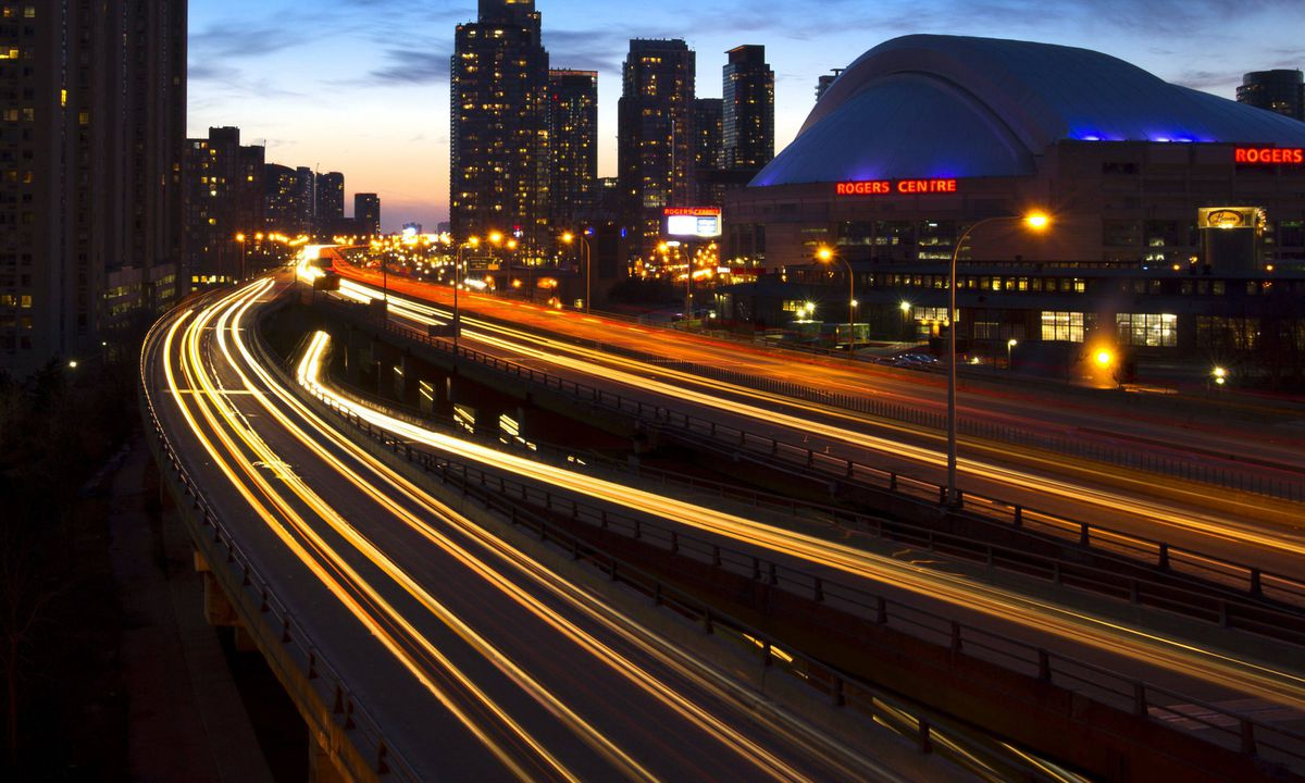 Here the photographer stays stationary as the traffic flows through the frame leaving only trails of light on the Gardiner Expressway in Toronto.
