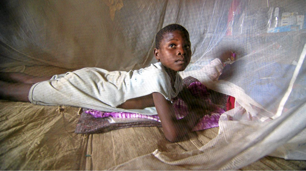 Sulay Momoh Jongo, 7, is seen inside a mosquito net in a mud hut in Mallay village, southern Sierra Leone, on April 8, 2008.