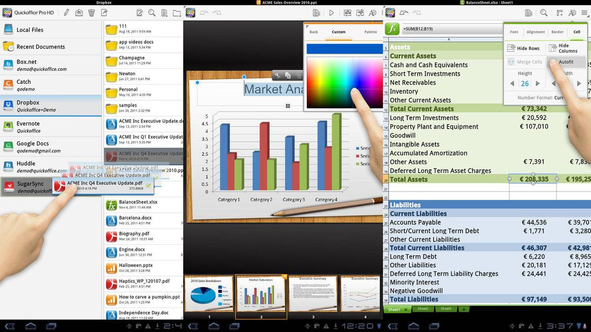 Quickoffice Pro HD is a tool for Android tablets that makes it possible to open and edit Microsoft Office documents from anywhere, right on the tablet. Create, view and edit Word documents, Excel spreadsheets and PowerPoint presentations in the file manager. Open and save files from Google Docs, Dropbox, Box.net, Huddle, SugarSync, or from your SD card. Quickoffice also works with PDF and Zip files, so you can open and work with files that might not otherwise be accessible. Download Quickoffice for free to try it out. When you're ready, upgrade to Quickoffice Pro HD for $19.99. (www.quickoffice.com/)