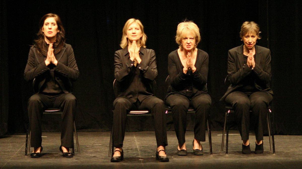 Women Fully Clothed - Teresa Pavlinek, Kathryn Greenwood, Jayne Eastwood and Robin Duke - on stage.