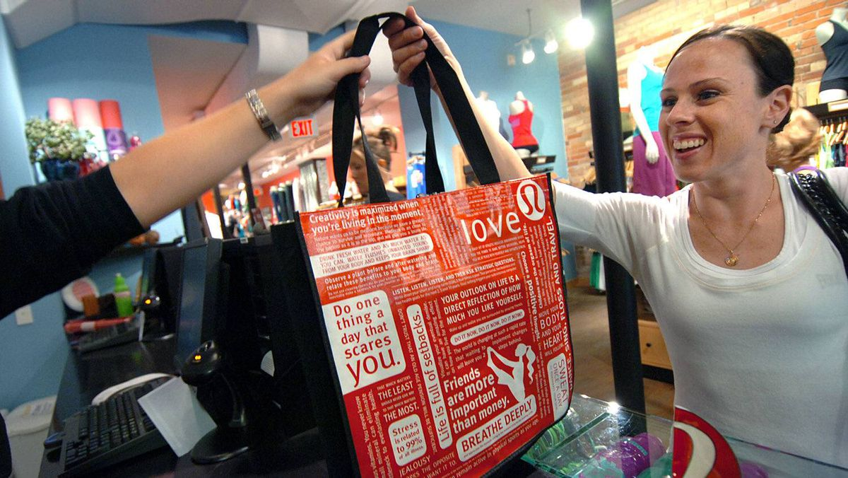 Lululemon's corporate manifesto is printed on its bags. The company's recent decision to include a reference on some of its bags to Ayn Rand's novel Atlas Shrugged, which advocates self-interest as the path to a better world, has raised eyebrows with some of its devotees.