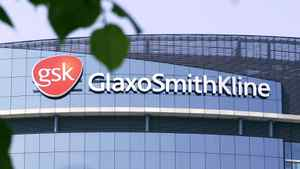 The company logo of GlaxoSmithKline is seen on the headquarters building in London in 2006.