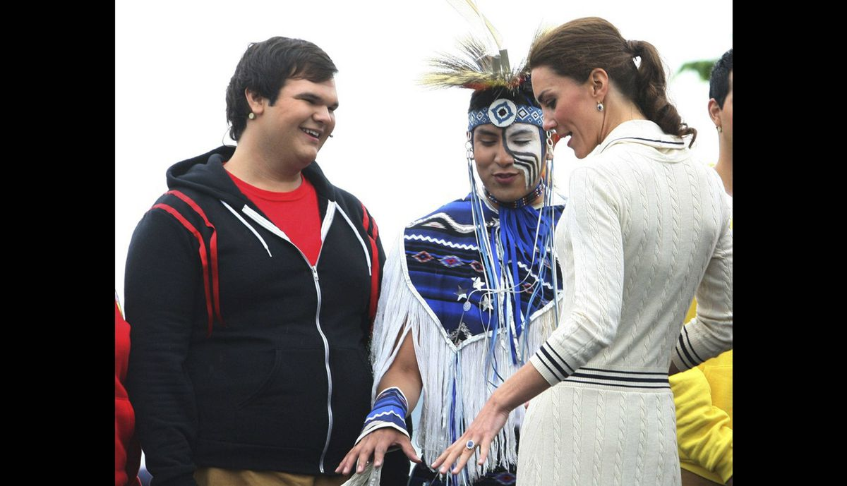 The Duchess of Cambridge greets performers in Charlottetown Monday, July 4, 2011.