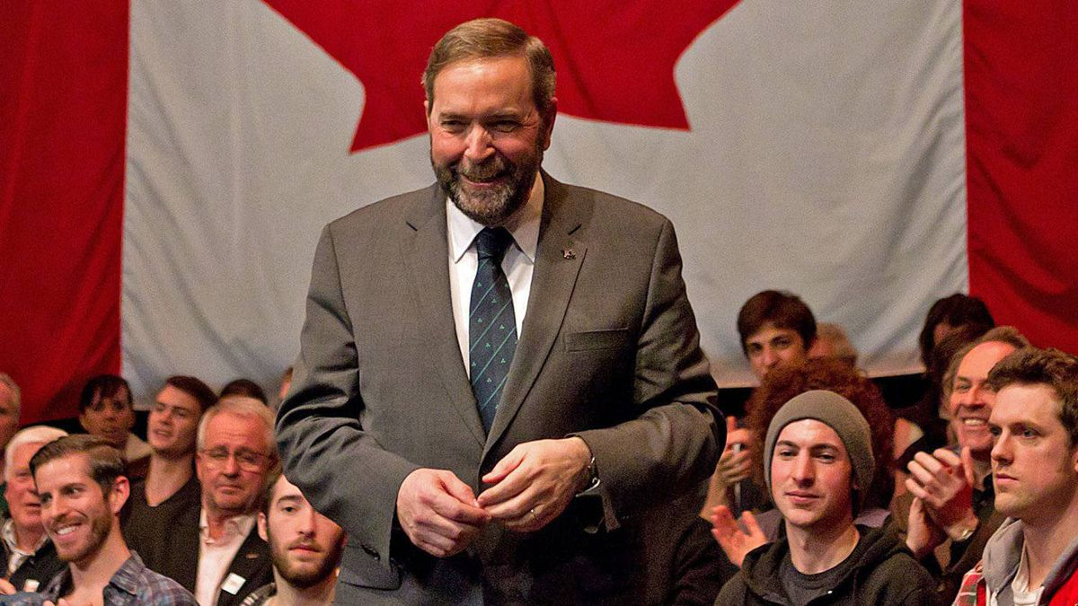 Quebec MP Thomas Mulcair leaves the stage after the final NDP leadership debate in Vancouver on March 11, 2012.