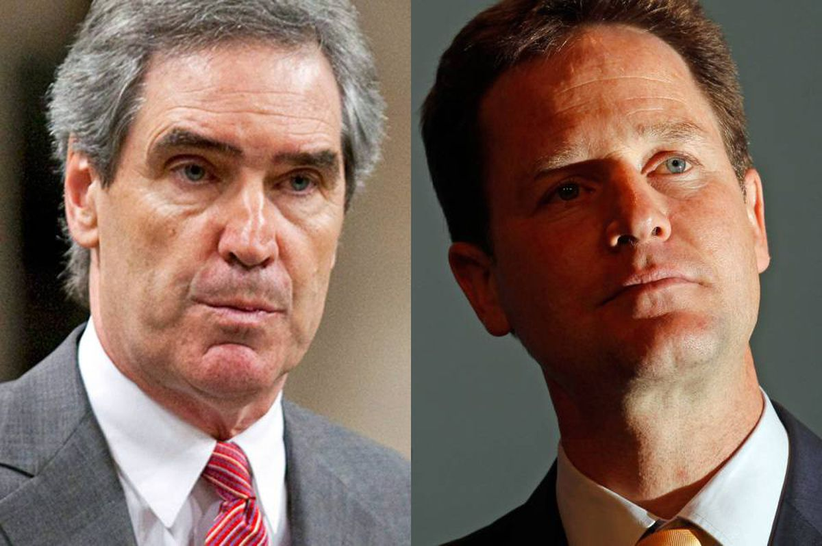 Liberal Leader Michael Ignatieff and British Liberal Democratic chief Nick Clegg are shown in a photo combination.