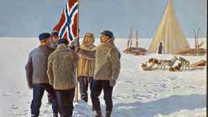 Amundsen and four others in the south pole expedition planted the Norwegian flag at the South Pole. The moment was later pictured on this postcard.