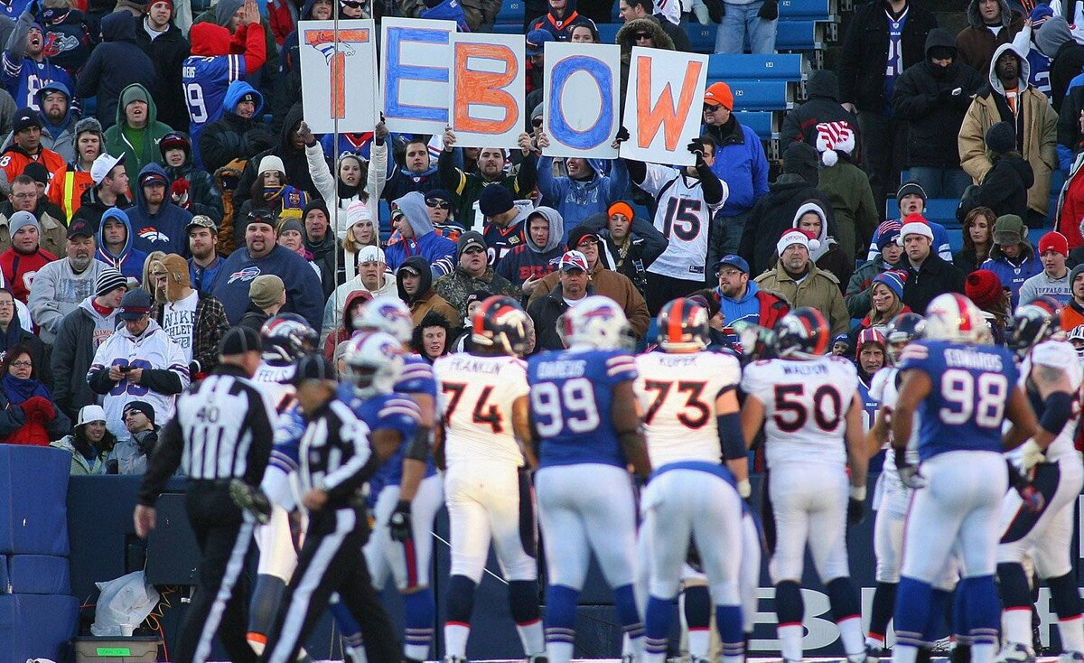 Fans of Tim Tebow of the Denver Broncos spell out his name at Ralph Wilson Stadium on December 24, 2011 in Orchard Park, New York. Buffalo won 40-14.