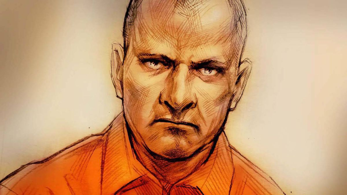 In this courtroom sketch, Col. Russell Williams appears via a video link in Belleville, Ont., Thursday, Feb.18, 2010.