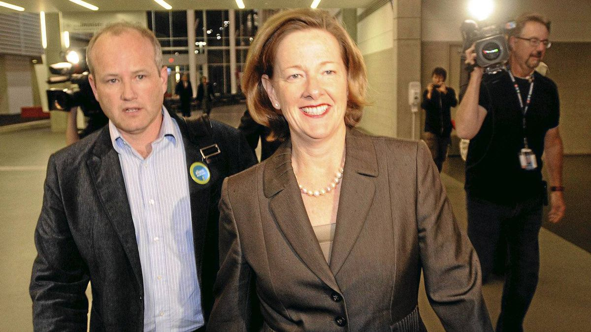 Alberta Progressive Conservative party leadership candidate Alison Redford enters the convention centre with campaign manager Stephen Carter before the results of the leadership race in Edmonton Oct. 1, 2011.