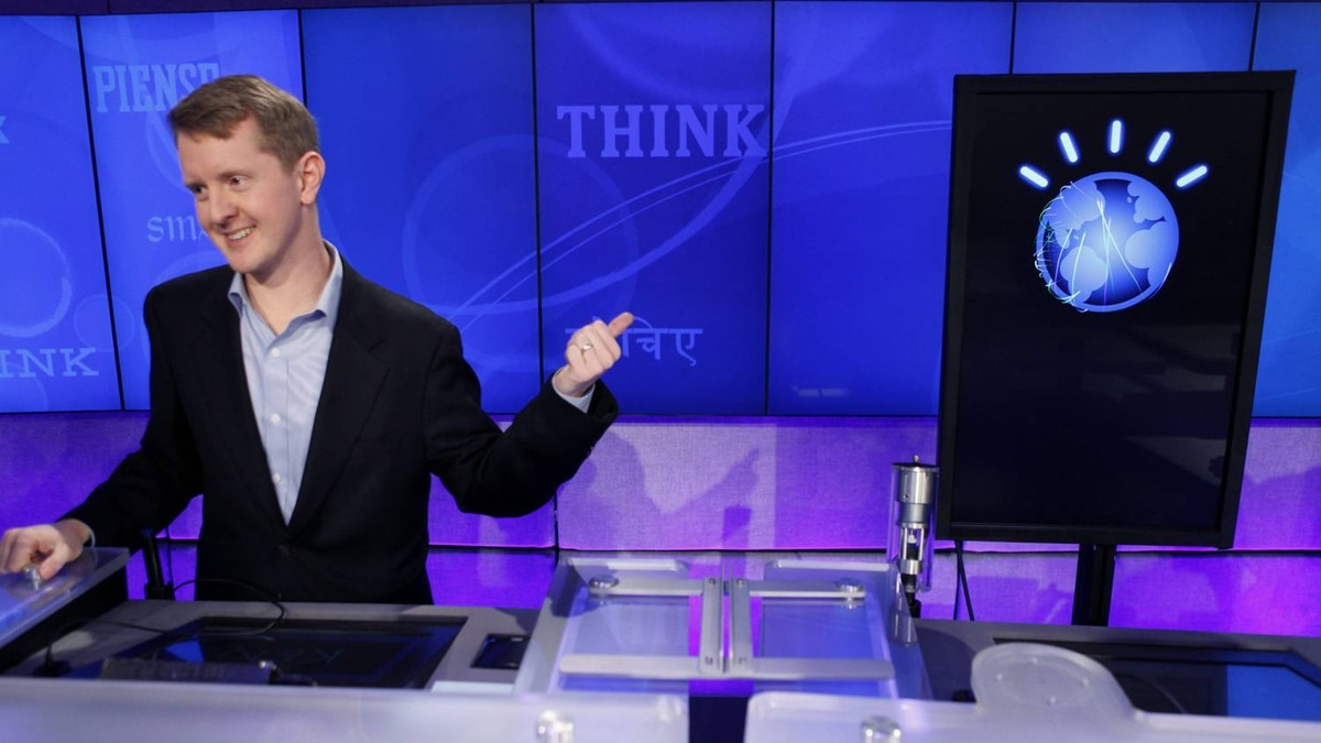 Jeopardy! contestant Ken Jennings, who won a record 74 consecutive games, refers to IBM's Watson during a taping of the show. The computer is the size of 10 refrigerators. Watson played a competitive practice round against two Jeopardy! champions. IBM hopes the supercomputer will have applications in healthcare.