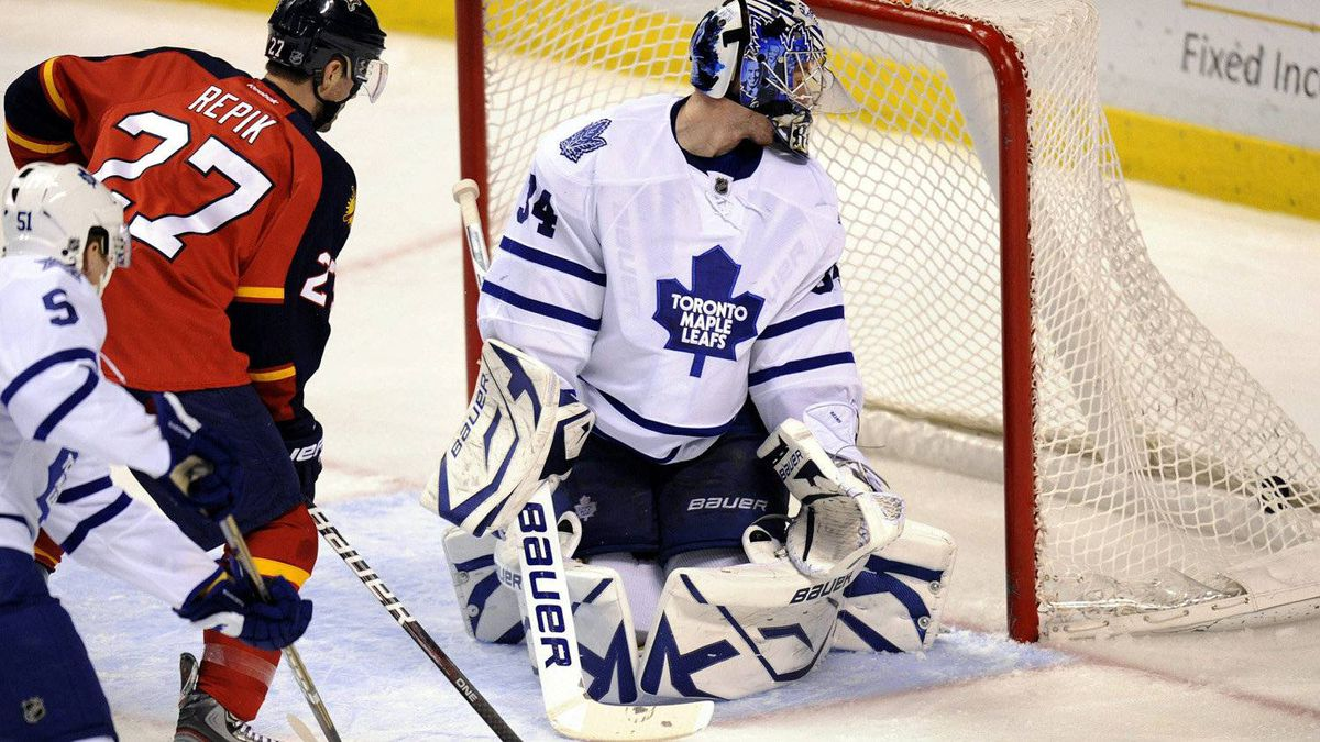 Florida Panthers forward Michal Repik andToronto Maple Leafs goalie James Reimer watch Repik's goal during the second period in Sunrise. Fla.