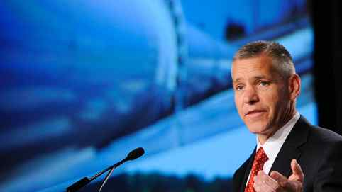Russ Girling, president and CEO of TransCanada, addresses shareholders at the company's annual general meeting in Calgary, Alberta April 27, 2012.