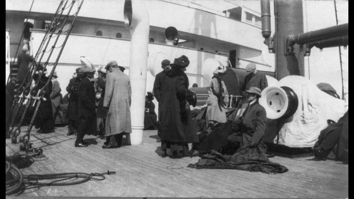A group of survivors of the Titanic disaster aboard the Carpathia after being rescued, April 1912.