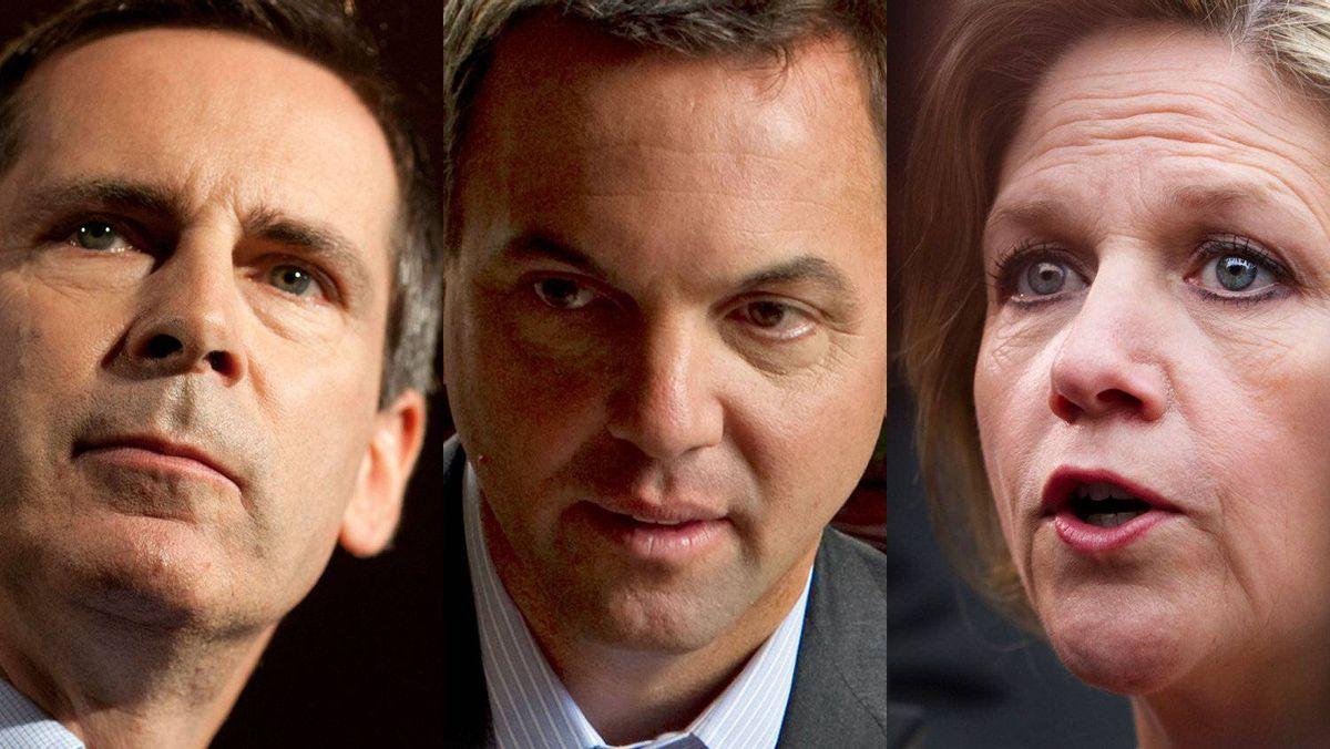 Ontario Liberal Leader Dalton McGuinty, Progressive Conservative Leader Tim Hudak and the NDP's Andrea Horwath are shown in a photo combination.