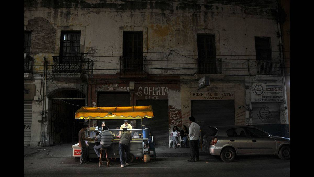William Fearn photo: Taco stand at night - Tampico street scene at night.