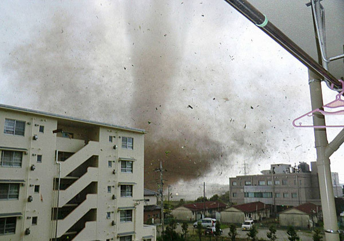 A tornado is seen in Tsukuba, north of Tokyo, in this picture taken by a resident of Tsukuba and released by Kyodo on May 6, 2012.