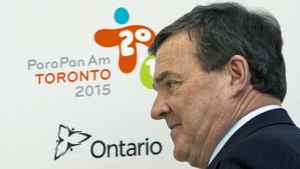 Finance Minister Jim Flaherty at a news conference on 2015 Pan Am Games in Toronto on May 11, 2012.