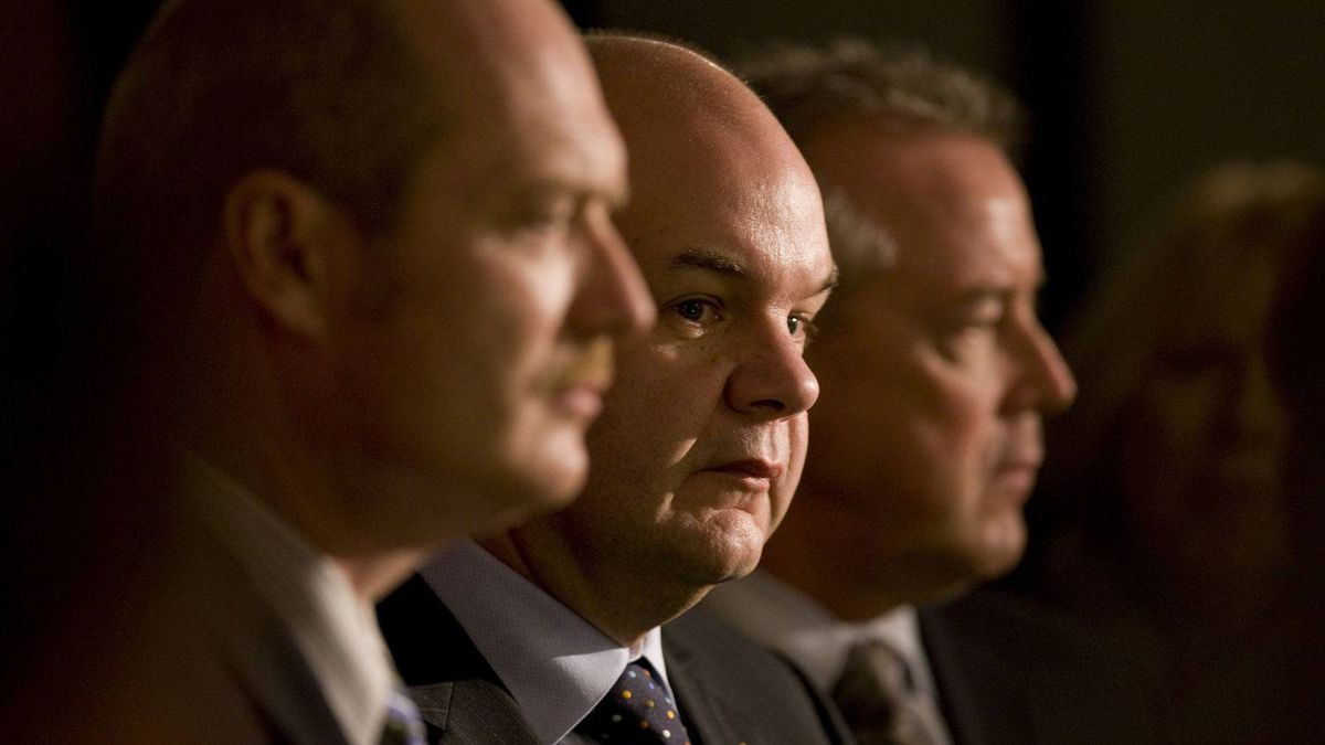 Provincial health ministers Michael de Jong of BC, left, Fred Horne, center, of Alberta, and Don McMorris, right of Saskatchewan line up for a news conference following a meeting of provincial health ministers at the Lord Nelson hotel in Halifax, NS, on Nov. 24th. 2011.