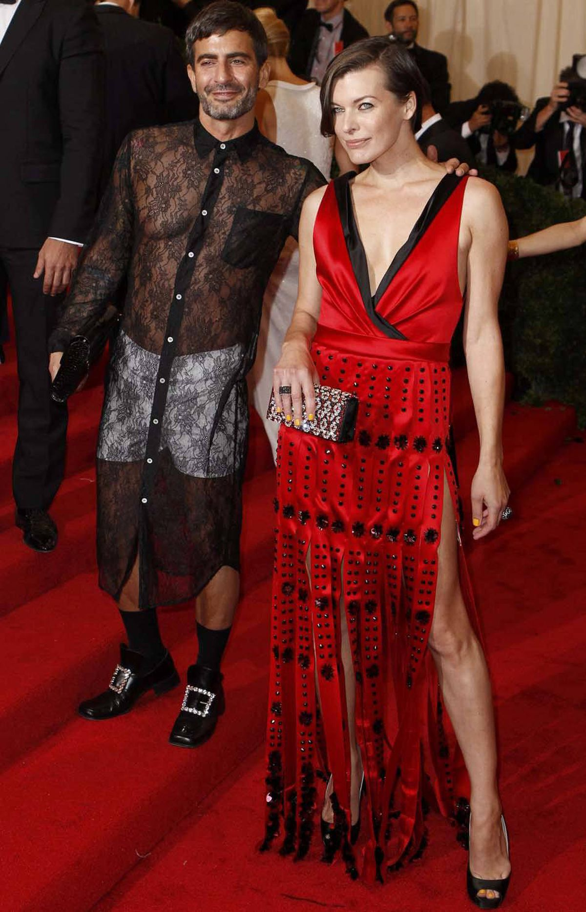 Designer Marc Jacobs (left, with actress Milla Jovovich) knocked it out of the park with underpants, leprechaun shoes and, of course, the requisite gauzy nightshirt.