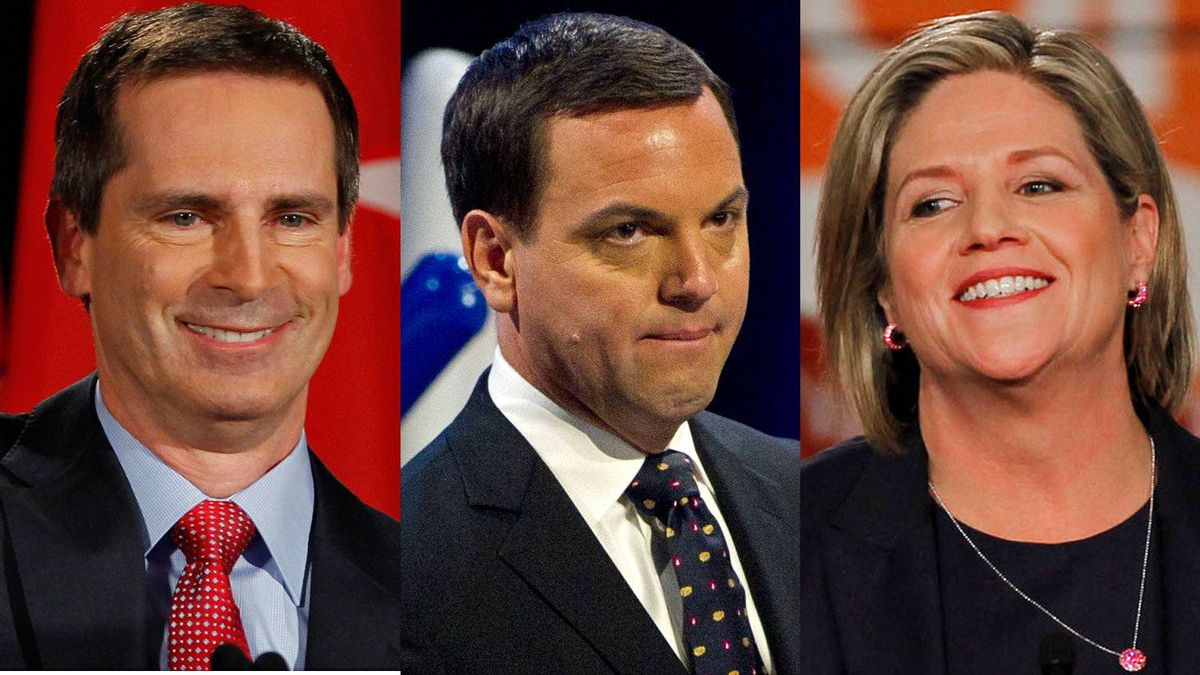 Ontario Liberal Leader Dalton McGuinty, Progressive Conservative chief Tim Hudak and the NDP's Andrea Horwath address supporters at their respective election headquarters on Oct. 6, 2011.