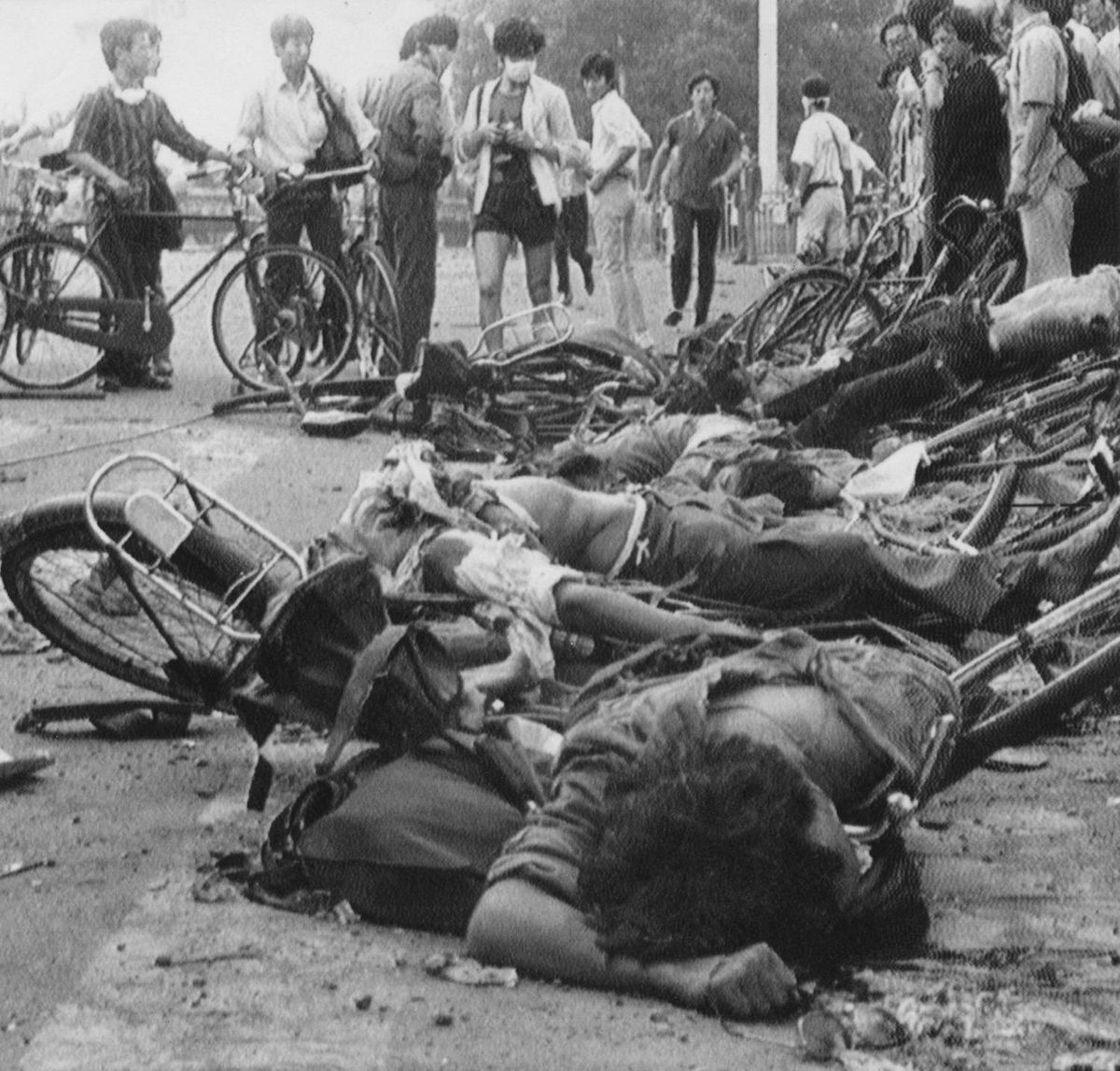 Students died with their bicycles near Tiananmen Square in the early hours of June 4, 1989.