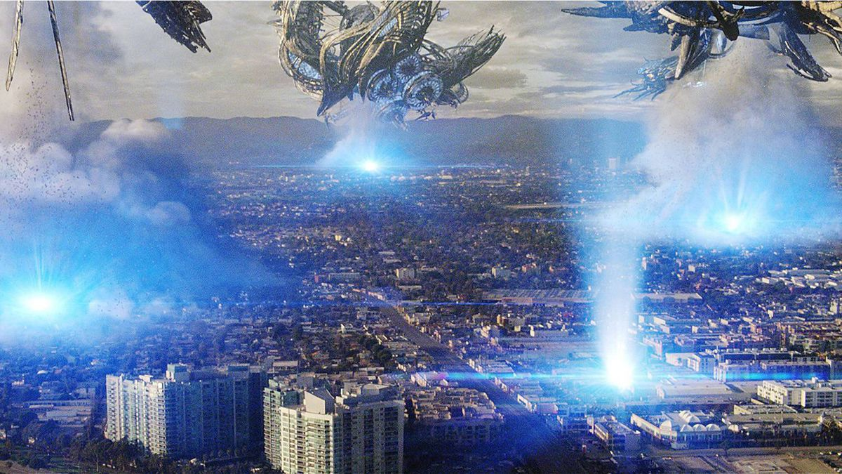 "In this film publicity image released by Universal Pictures, alien ships attack the city of Los Angeles in the sci-fi thriller, ""Skyline""."