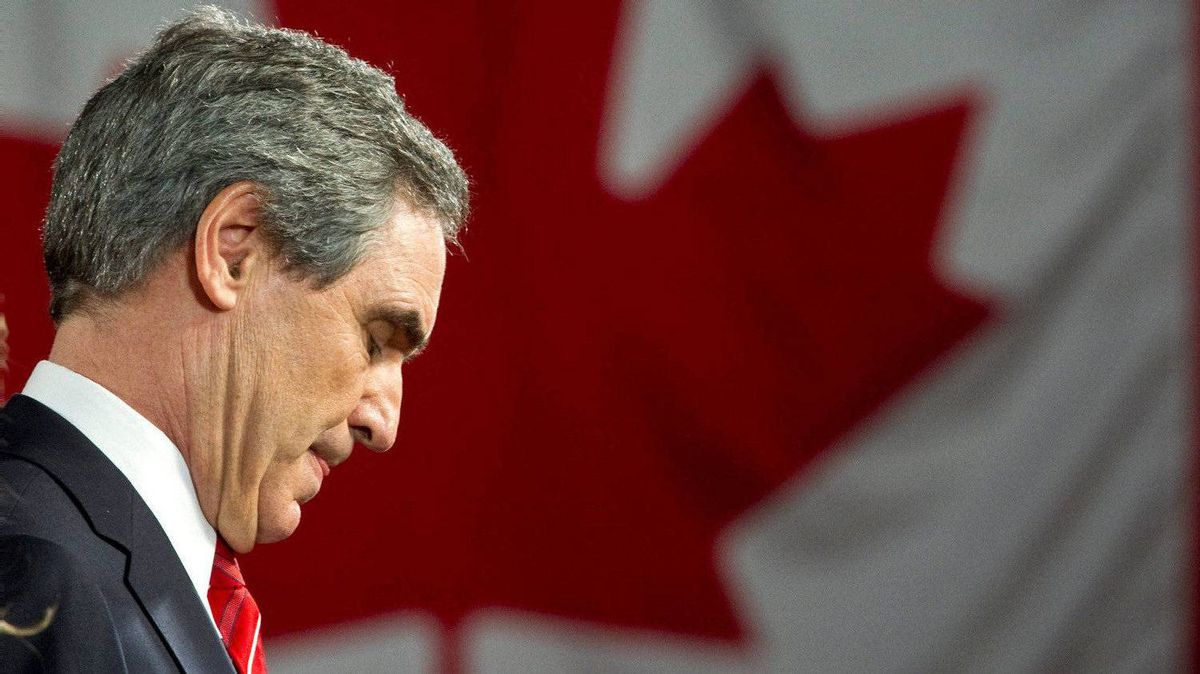 Liberal Leader Michael Ignatieff pauses as he addresses supporters on Monday, May 2, 2011 in Toronto.