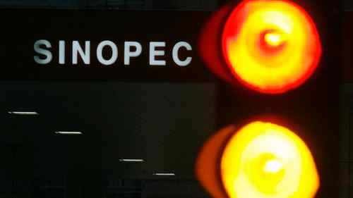 A Sinopec petrol station is seen behind traffic lights in Hong Kong, in this file picture taken April 26, 2010.