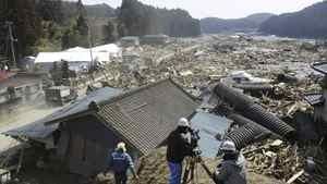 A devastated urban area in Minami Sanriku, Miyagi, northern Japan is seen Sunday, March 13, 2011 after Friday's catastrophic earthquake and tsunami.