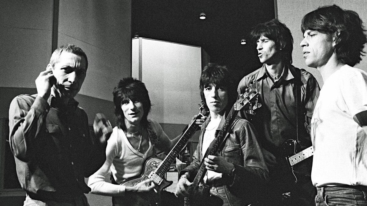 The Rolling Stones in a portrait by Helmut Newton.