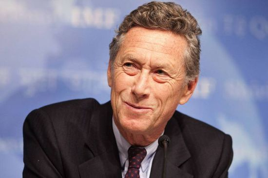 Olivier Blanchard of the IMF at a news conference in Washington April 21, 2010