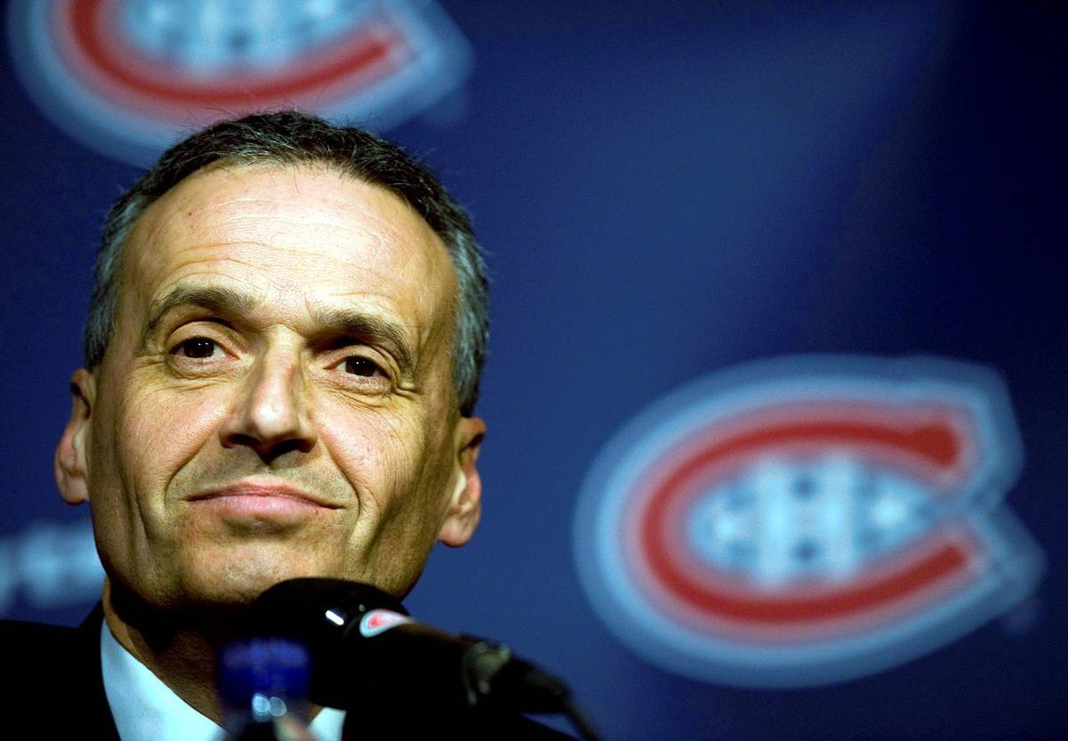 Pierre Gauthier smiles during a news conference in Montreal, Monday, announcing him as the new general manager of the Montreal Canadiens.