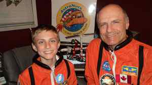 Space enthusiast Ray Bielecki and his son Brett, from Newmarket, Ont., are shown in a handout photo.