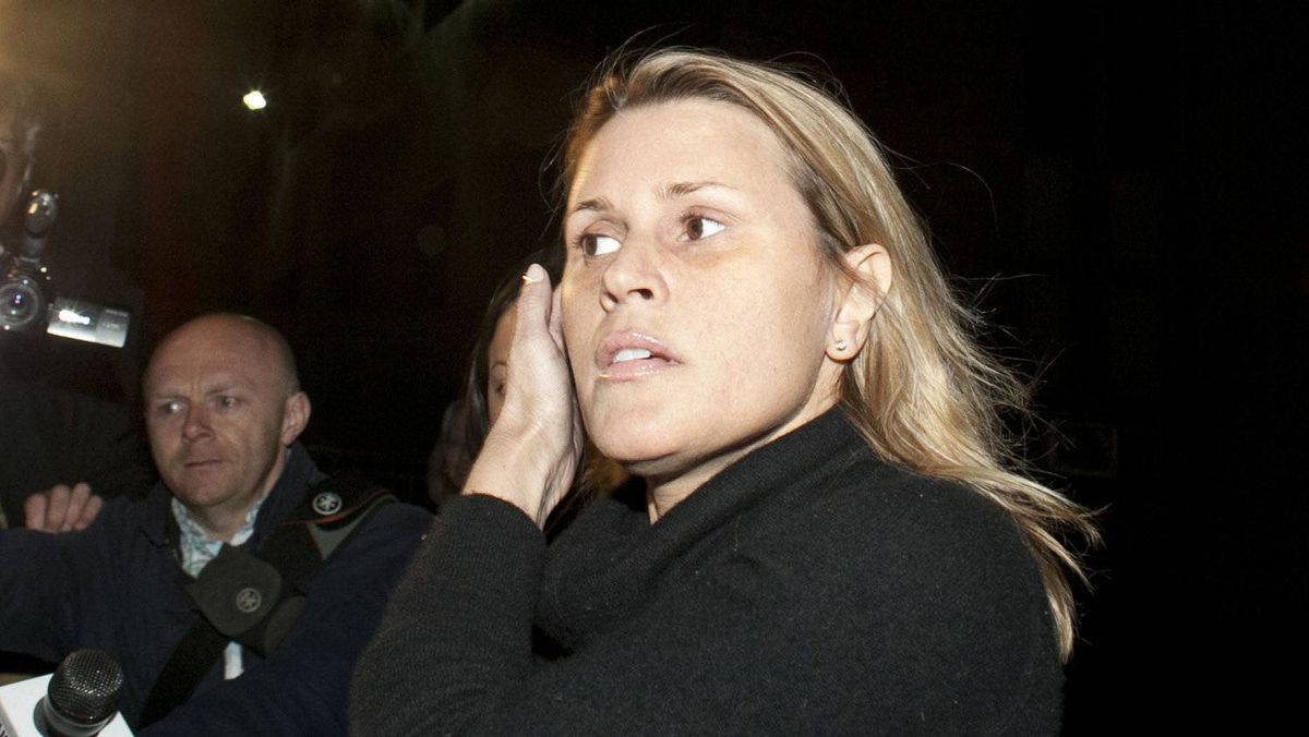 Canadian actress Genevieve Sabourin leaves Manhattan Criminal Court after being arraigned in New York April 9, 2012. Sabourin is accused of stalking actor Alec Baldwin.