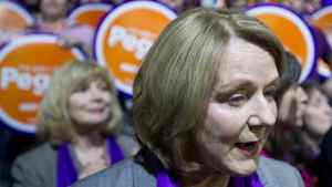 Candidate Peggy Nash reacts to the results of the first ballot after the first ballot at the NDP leadership convention at the Metro Toronto Convention Centre in Toronto, Ont. Saturday, March 24, 2012.