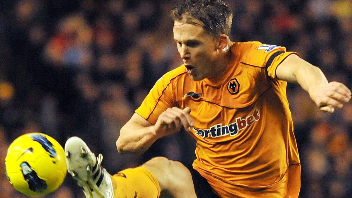 Wolverhampton Wanderers' Scottish defender Christophe Berra jumps for the ball during an English Premier League football match against Sunderland at the Molineux Stadium in Wolverhampton on December 4, 2011. Getty Images/BEN STANSALL