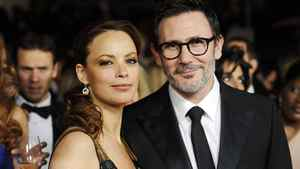 Director Michel Hazanavicius (R) and wife actress Berenice Bejo attend the 64th annual Directors Guild of America Awards in Los Angeles January 28, 2012.